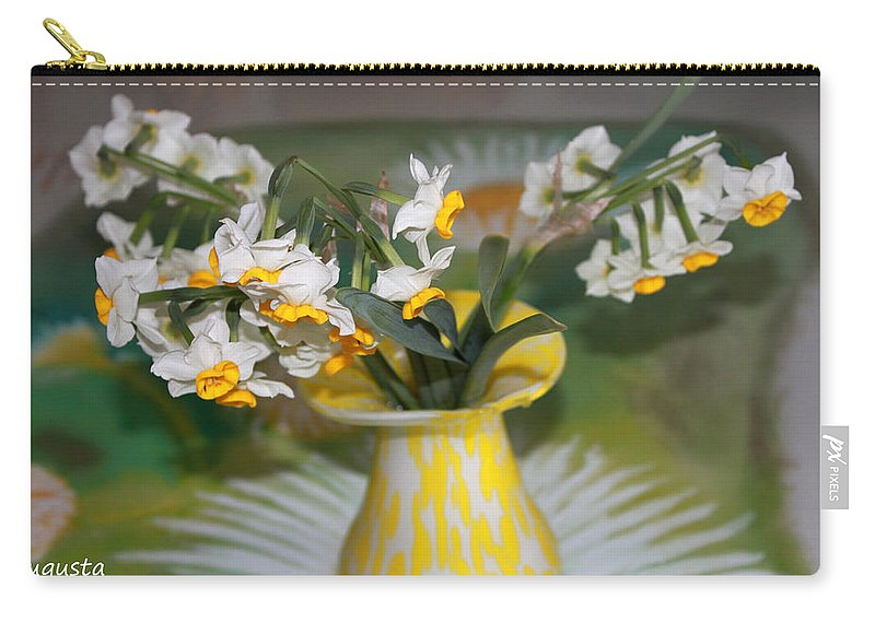 Augusta Stylianou Carry-all Pouch featuring the photograph Narcissus In The Vase by Augusta Stylianou