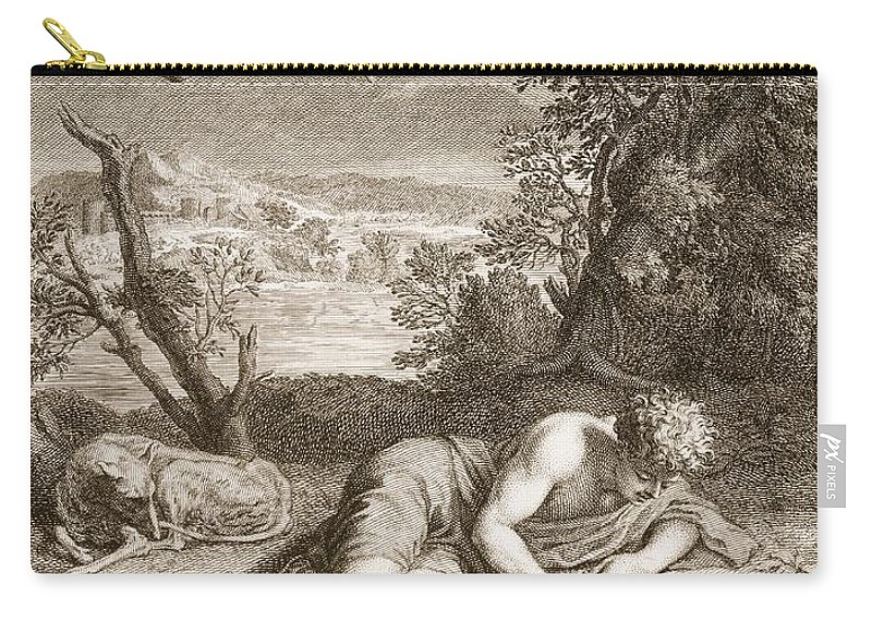 Narcissus Carry-all Pouch featuring the drawing Narcissus Transformed Into A Flower by Bernard Picart