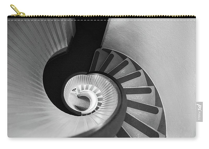 Steps Carry-all Pouch featuring the photograph Narrow Circular Staircase Abstract by Art Wager