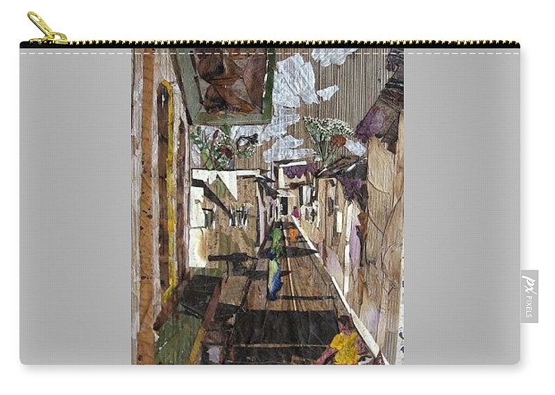 Street Scene Carry-all Pouch featuring the mixed media Narrow Street by Basant Soni
