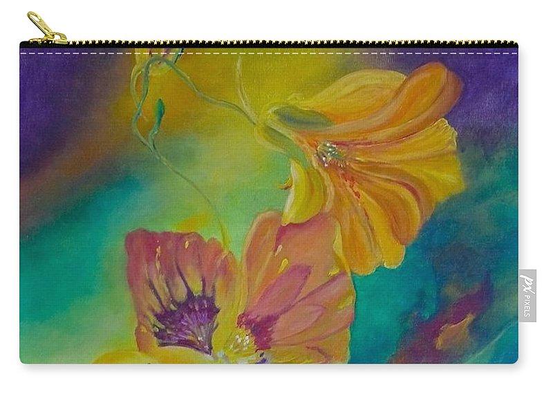 Nasturtium Carry-all Pouch featuring the painting Nasturtium Dream by Anna Ruzsan