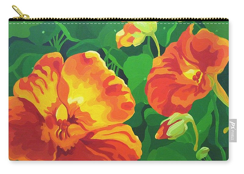 Flower Paintings Carry-all Pouch featuring the painting Nasturtiums by Karen Ilari