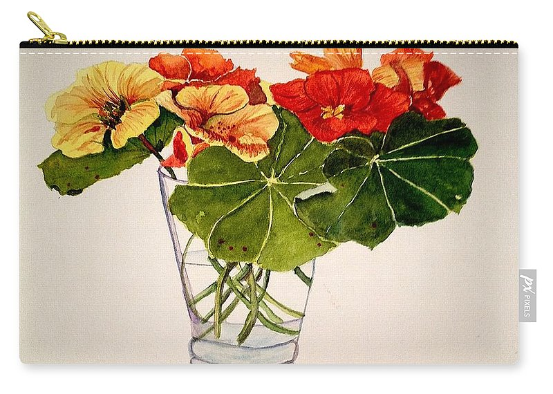 Flowers Carry-all Pouch featuring the painting Nasturtiums by Nicole Curreri