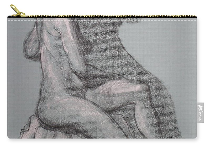 Realism Carry-all Pouch featuring the drawing Natalia #1 by Donelli DiMaria