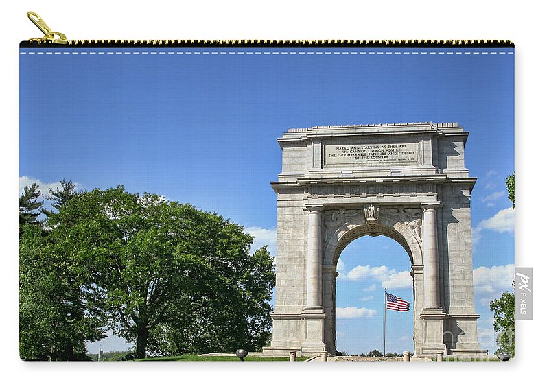 Valley Forge Carry-all Pouch featuring the photograph National Memorial Arch At Valley Forge by Olivier Le Queinec