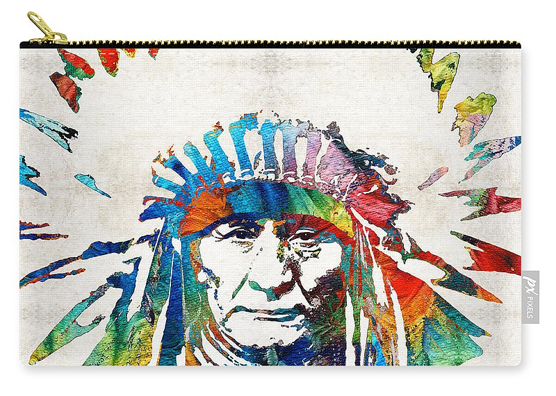 Native American Carry-all Pouch featuring the painting Native American Art - Chief - By Sharon Cummings by Sharon Cummings