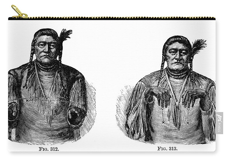 1880 Carry-all Pouch featuring the photograph Native Americans: Sign Language by Granger