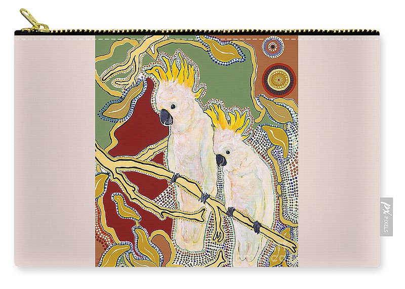 Pat Saunders-white Carry-all Pouch featuring the painting Native Aussies by Pat Saunders-White