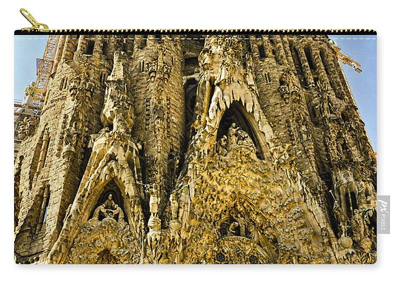 Sagrada Familia Carry-all Pouch featuring the photograph Nativity Facade - Sagrada Familia by Jon Berghoff