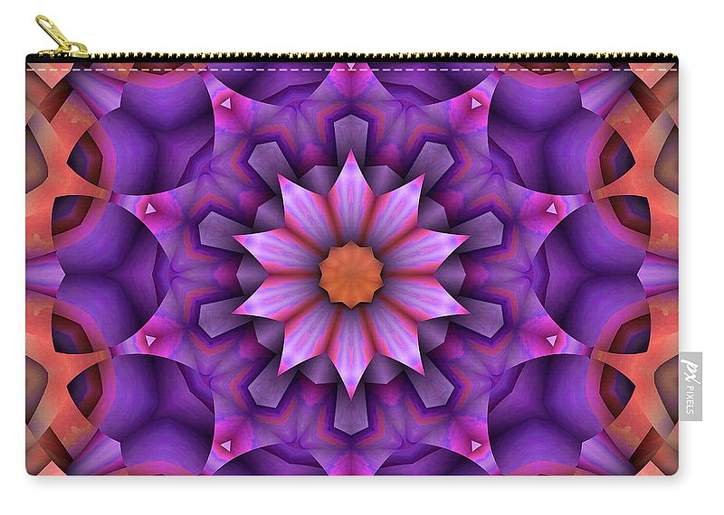 Kaleidoscope Carry-all Pouch featuring the digital art Natural Attributes 15 Square by Wendy J St Christopher