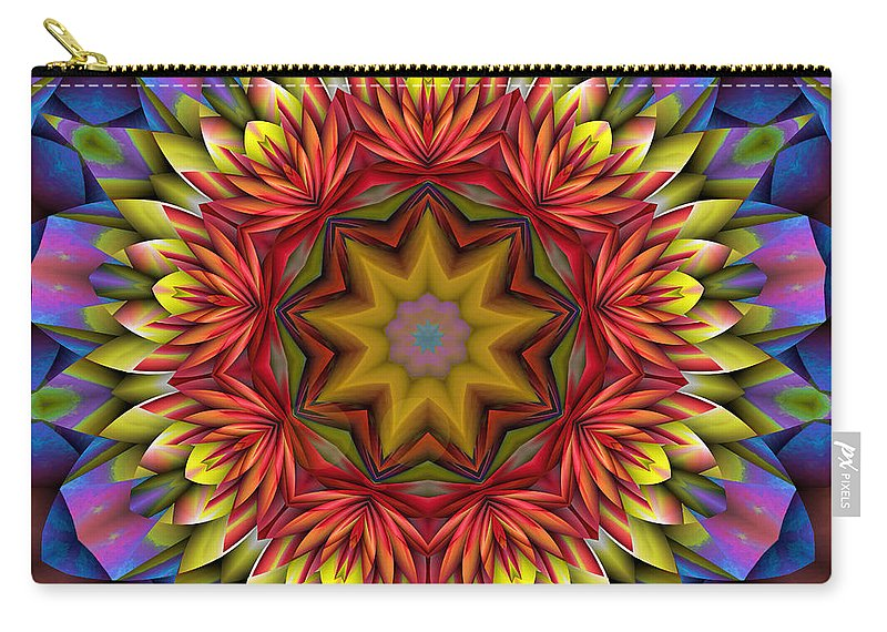 Kaleidoscope Carry-all Pouch featuring the digital art Natural Attributes 17 Square by Wendy J St Christopher