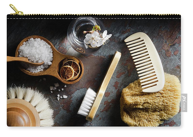 Comb Carry-all Pouch featuring the photograph Natural Bath Accesories On Gray by Nightanddayimages