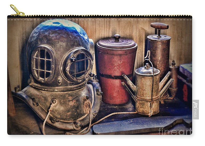 Dive Carry-all Pouch featuring the photograph Nautical - Antique Dive Helmet by Paul Ward