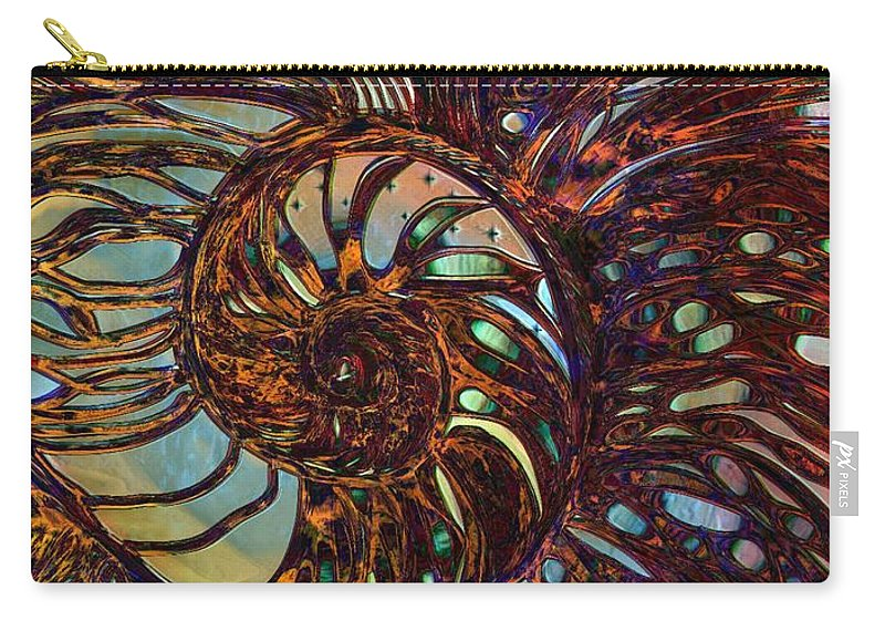 Shell Carry-all Pouch featuring the digital art Nautilus by Mary Eichert