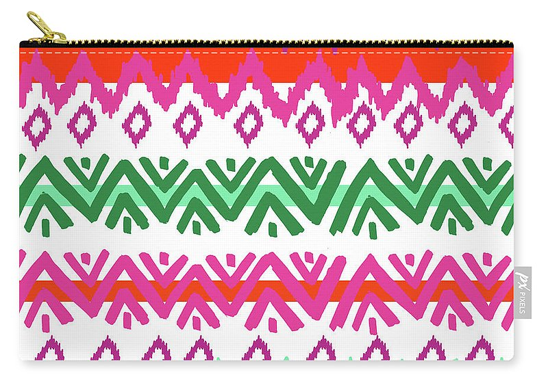 Southwest Carry-all Pouch featuring the digital art Navajo Mission Round by Nicholas Biscardi