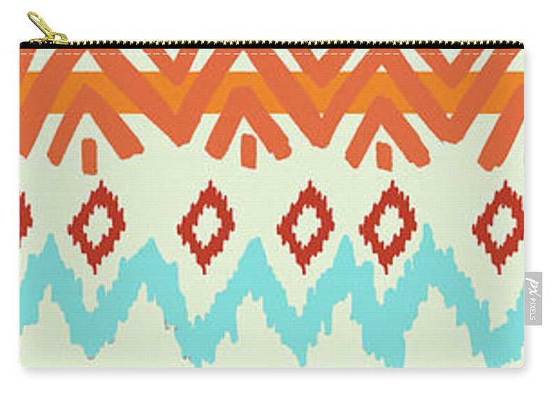 Navajo Carry-all Pouch featuring the digital art Southwest Pattern I by Nicholas Biscardi