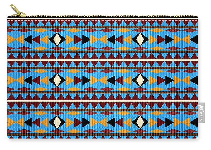 Navajo Carry-all Pouch featuring the mixed media Navajo Blue Pattern by Christina Rollo