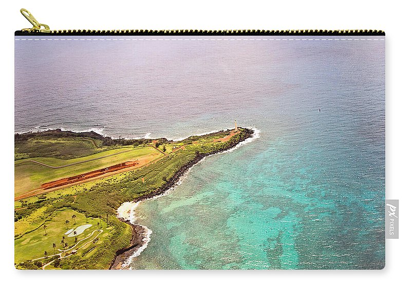 Lighthouse Carry-all Pouch featuring the photograph Nawiliwili Lighthouse - Aerial by Scott Pellegrin