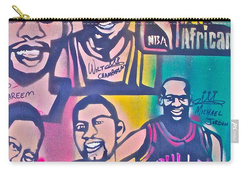 Kareem Abdul-jabbar Carry-all Pouch featuring the painting Nba Nuthin' But Africans by Tony B Conscious