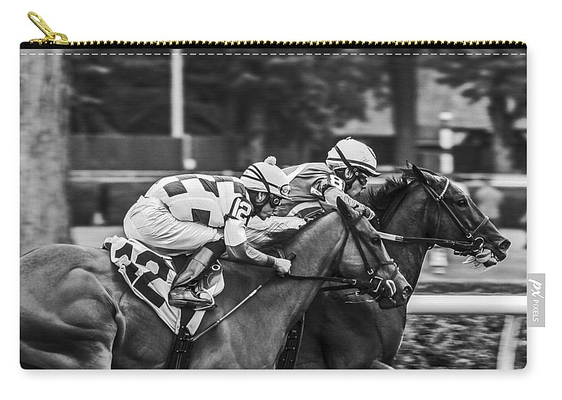 Saratoga Racetrack 2013 Carry-all Pouch featuring the photograph Neck And Neck by Eric Swan