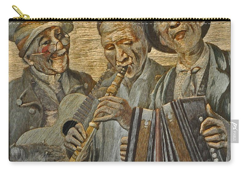 Painting Carry-all Pouch featuring the photograph Needlepainting Musicians by Jay Milo