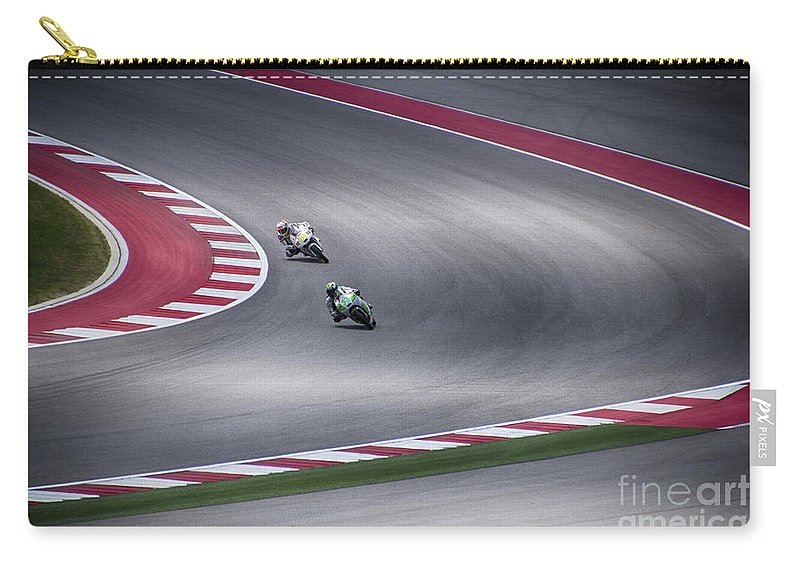 Motorcycle Carry-all Pouch featuring the photograph Negotiating The Corner by Douglas Barnard