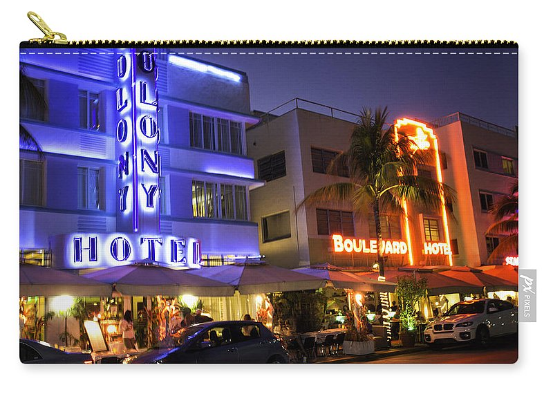 Florida Carry-all Pouch featuring the photograph Neon Art Deco by Fran Gallogly