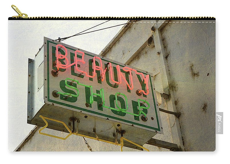 Pole Carry-all Pouch featuring the photograph Neon Beauty Shop Sign by Smodj