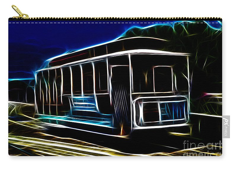 San Francisco Carry-all Pouch featuring the photograph Neon Cable Car by Tommy Anderson