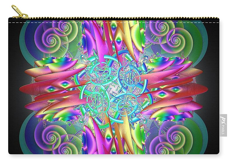 Rainbow Carry-all Pouch featuring the digital art Neon Dreams by Sara Raber