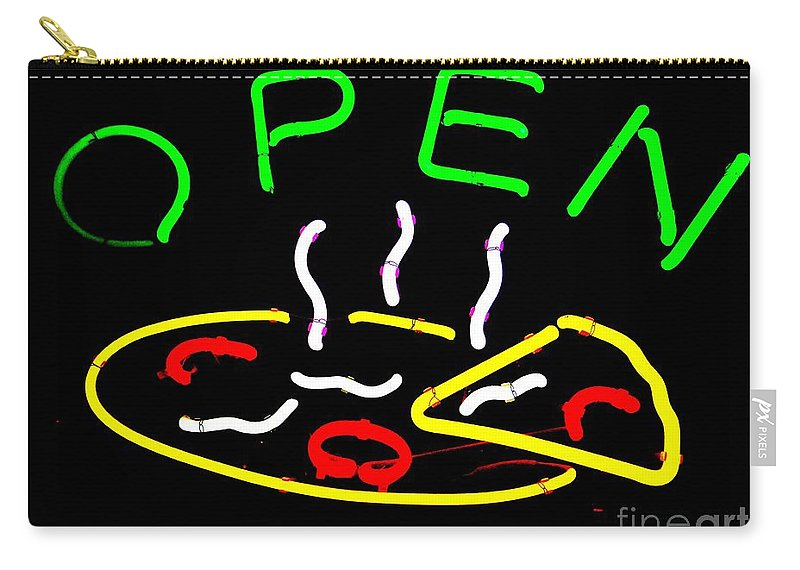 Signs Carry-all Pouch featuring the photograph Neon Pizza by Ed Weidman