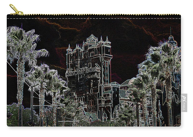Toere Carry-all Pouch featuring the mixed media Neon Tower by Eric Liller