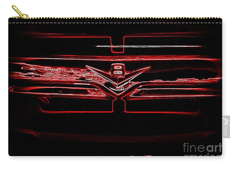Neon Truck Grill Carry-all Pouch featuring the photograph Neon Truck Grill by Susan Garren