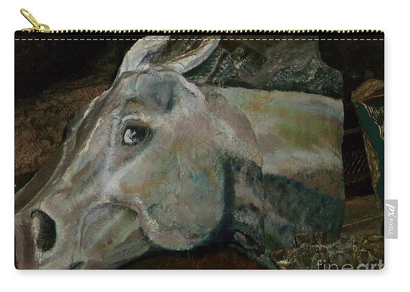 Horse Carry-all Pouch featuring the painting Nephrite's Horses On Stairs by Abelone Petersen