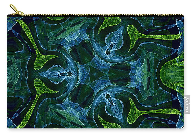 Neptune Neptunes Garden Water Plant Plants Nature Fractal Digital Painting Green Blue Ocean Sea Underwater Abstract Expressionism Impressionism Carry-all Pouch featuring the painting Neptunes Garden by Steve K