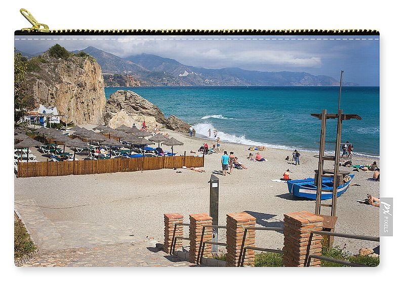 Nerja Carry-all Pouch featuring the photograph Nerja Beach In Spain by Artur Bogacki