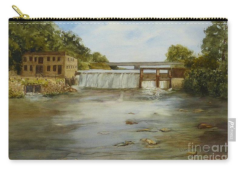 Water Carry-all Pouch featuring the painting Neshonoc Dam by Eldora Schober Larson