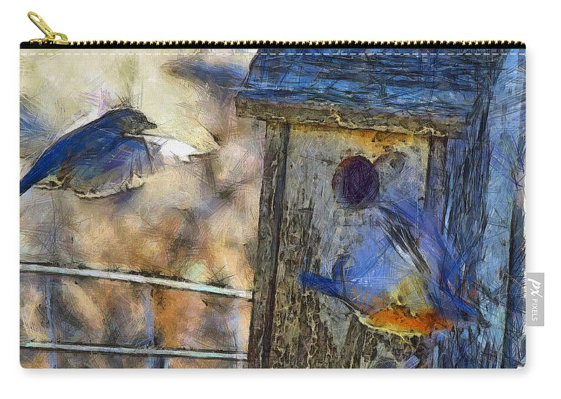 Eastern Bluebird Carry-all Pouch featuring the photograph Nest Building Time by Shannon Story