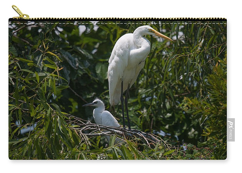 Egret Carry-all Pouch featuring the photograph Nest Lookout by Dale Powell
