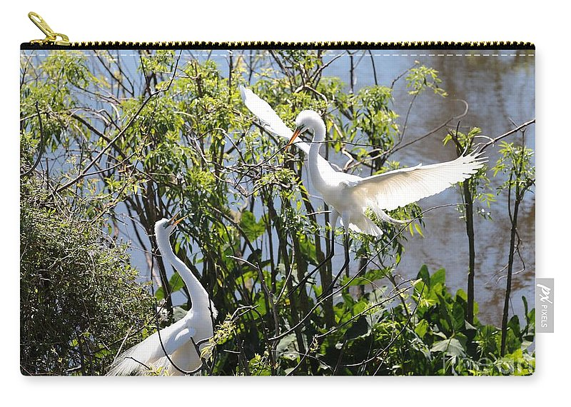 Nesting Carry-all Pouch featuring the photograph Nesting Great Egrets by Carol Groenen