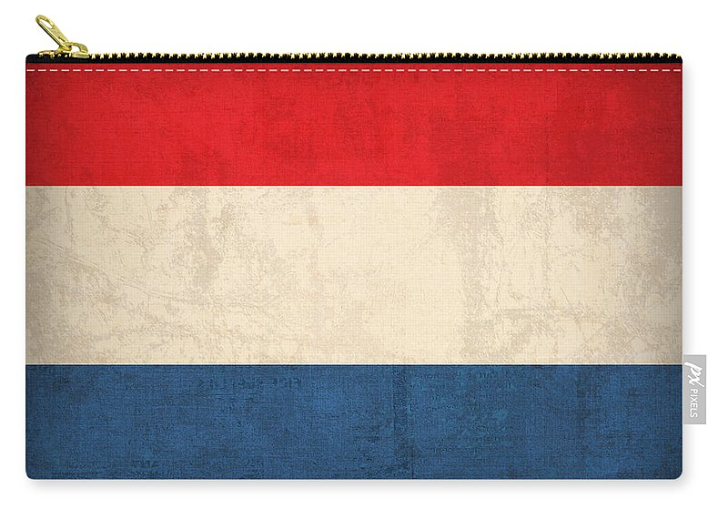 Netherlands Flag Vintage Distressed Finish Holland Europe Country Nation Dutch Carry-all Pouch featuring the mixed media Netherlands Flag Vintage Distressed Finish by Design Turnpike