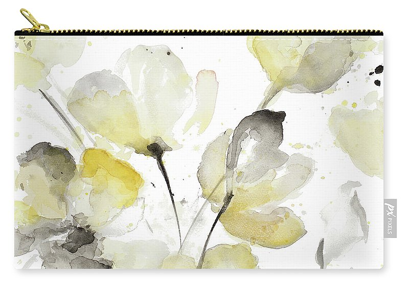 Neutral Carry-all Pouch featuring the painting Neutral Abstract Floral I by Lanie Loreth