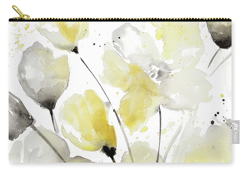 Neutral Carry-all Pouch featuring the painting Neutral Abstract Floral II by Lanie Loreth