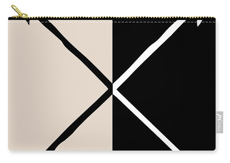 Neutral Carry-all Pouch featuring the mixed media Neutral Glam Arrows by South Social Studio