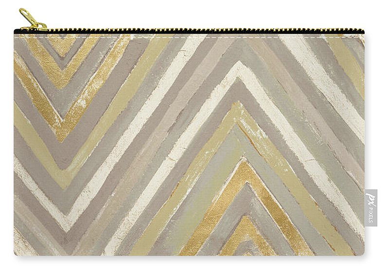 Neutral Carry-all Pouch featuring the painting Neutral Ikats by Patricia Pinto