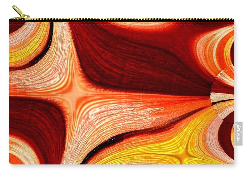 Swirl Carry-all Pouch featuring the digital art Neutral Swirls Fractured by Saundra Myles