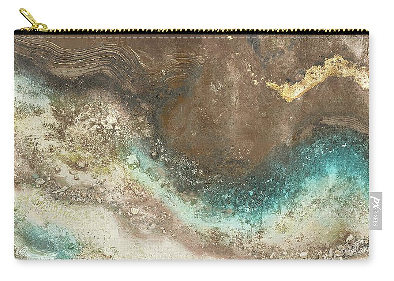 Neutral Carry-all Pouch featuring the painting Neutral Tierra Rectangle I by Patricia Pinto