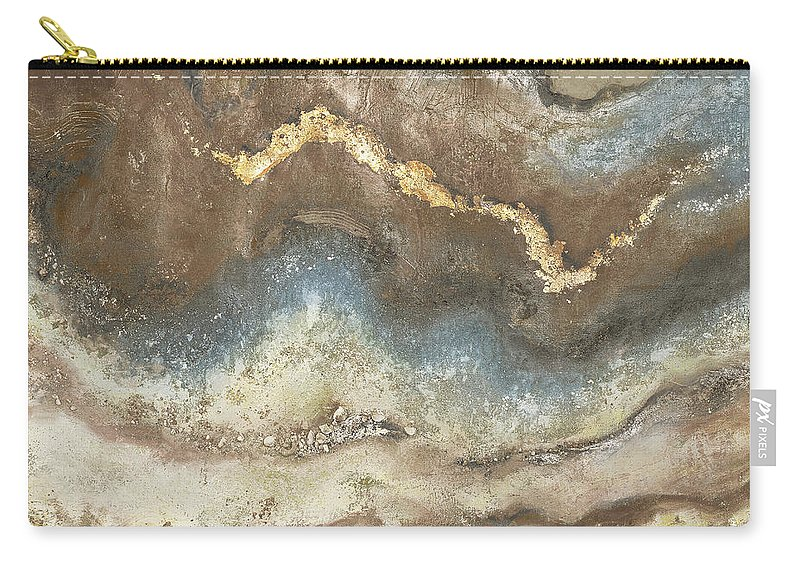 Blue Carry-all Pouch featuring the painting Neutral Tierra Square by Patricia Pinto