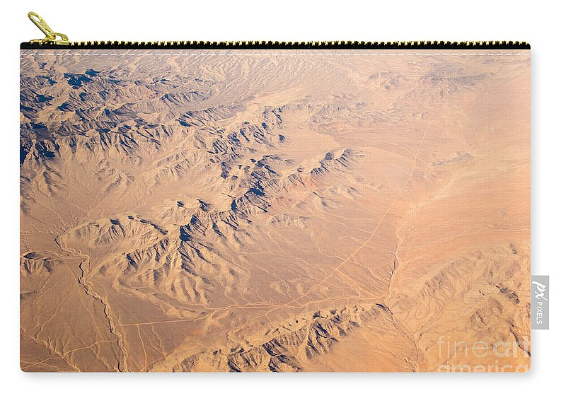Abstract Earth Carry-all Pouch featuring the photograph Nevada Mountains Aerial View by Alanna DPhoto