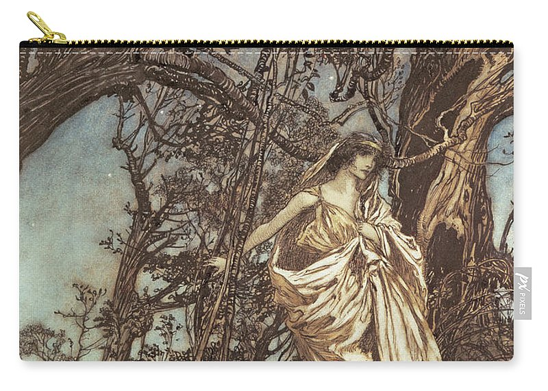 Hermia Carry-all Pouch featuring the drawing Never So Weary Never So Woeful Illustration To A Midsummer Night S Dream by Arthur Rackham